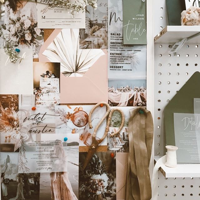 Inspiration boards are a must for creators in the designing process! We are loving this most recent one of ours ✨ • • • #weddingblogger #weddingsofiowa #midwestwedding #inspirationboard #inspiredby #bridetobe #customweddingstationery #byinvitationonlyblog #allthingspaper