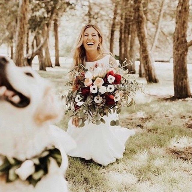 Sweetest bride with the oh so sweetest pup! • • • #byinvitationonlyblog #bohoweddinginspiration #bohoweddingsofiowa #wildflowerdsm #dogsinweddings #floralcollarsfordogs #ohhappyday #bohemianbride #midwestwedding