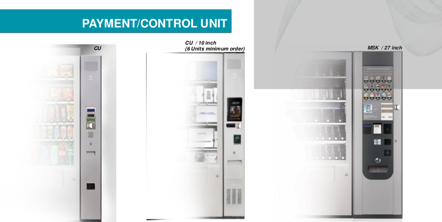 Three different control unit options for a modular vending machine system