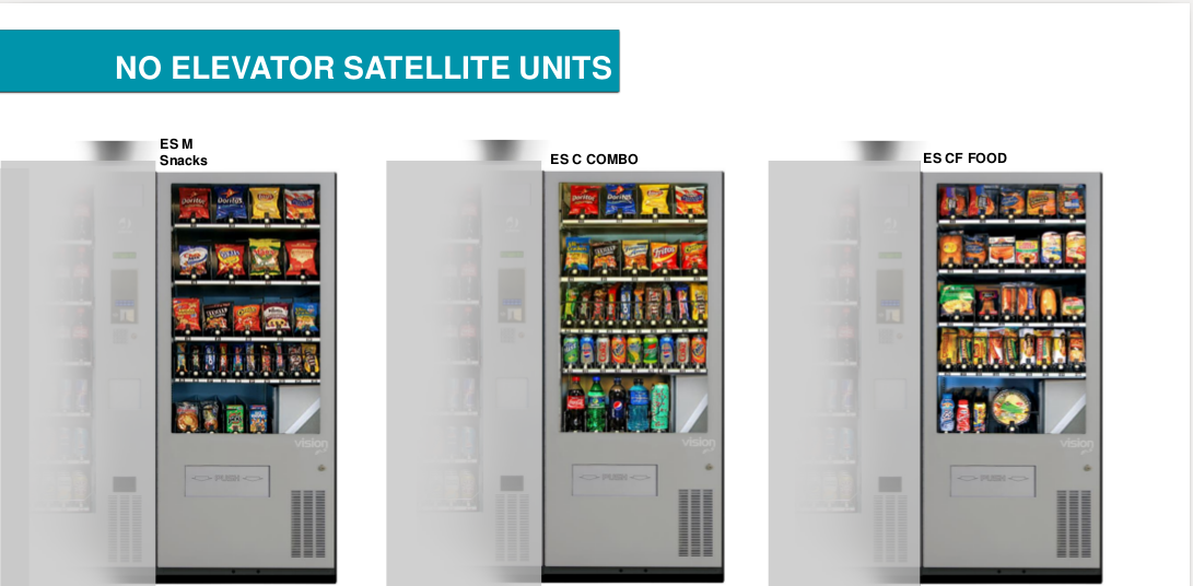 No-elevator satellite units, showing options with and without refrigeration
