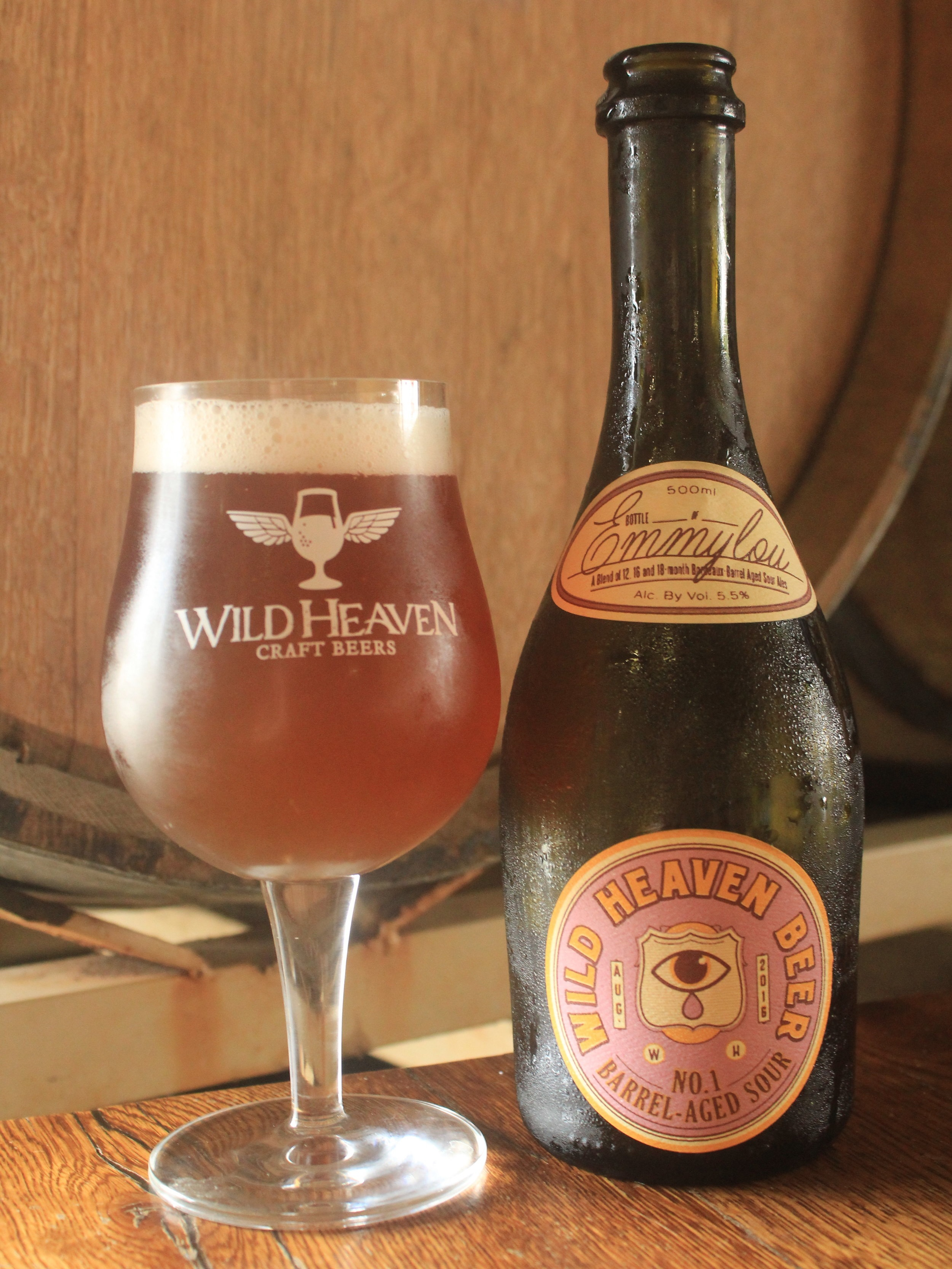 Emmylou - Barrel-aged Sour No. 15.5% ABVEmmylou is a blend of eighteen, sixteen and twelve-month old Bordeaux barrel-aged golden ale fermented with brettanomyces and lactobacillus and refermented with cantaloupe, golden gooseberry, D'Anjou pears, Asian persimmon and kumquat.