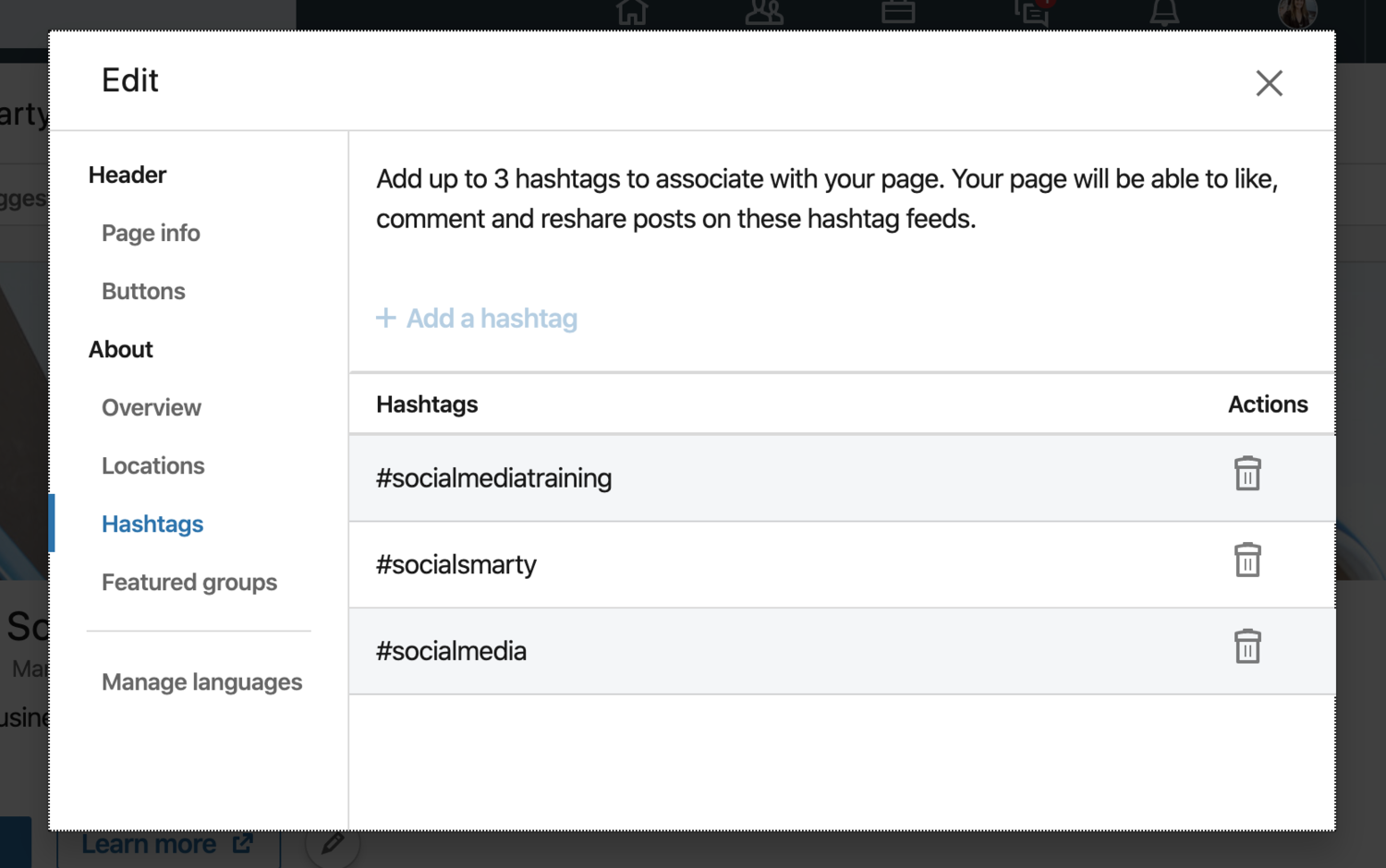 Add hashtags to your LinkedIn company page.png