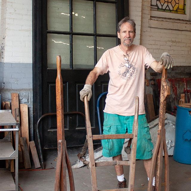 """Employee Pick of the Week!! Name: Eddie Pick: Antique Dolly Why: """"I like old wood and metal pieces. These each have specific uses and look this one has been mended a few times."""" Eddie loves the design and simplicity of utilitarian objects. He's drawn to antique industrial pieces that can still be used. They don't make things to last anymore."""