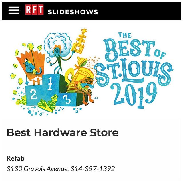 Guess who was named RFT's Reader's Choice Best Hardware Store! Refab! Thank you for voting for us!! We are honored to be chosen.