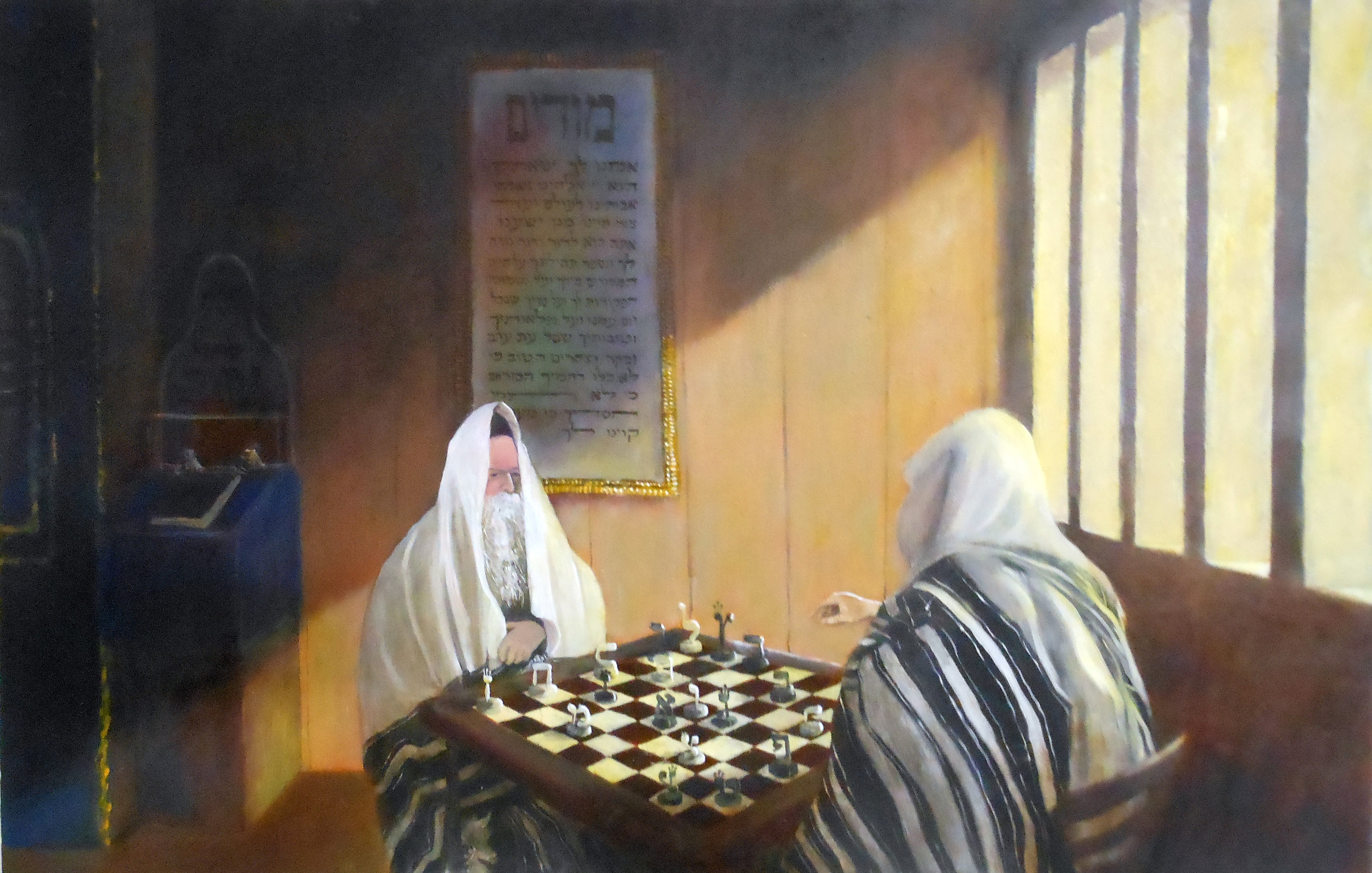 Chess Players (Sold)  60 x 90 cm, oil on canvas. #A4 - 2014