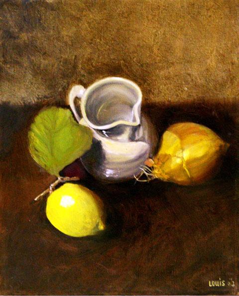 Lemon Vase  25 x 30 cm, oil on canvas. #A25 - 2008