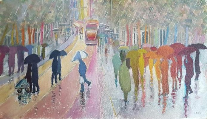 Light Rail I     18 x 36 cm, oil on canvas. #A29