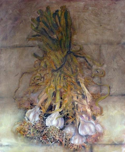 Drying Garlic  50 x 60 cm, oil on canvas. #A26 - 2013