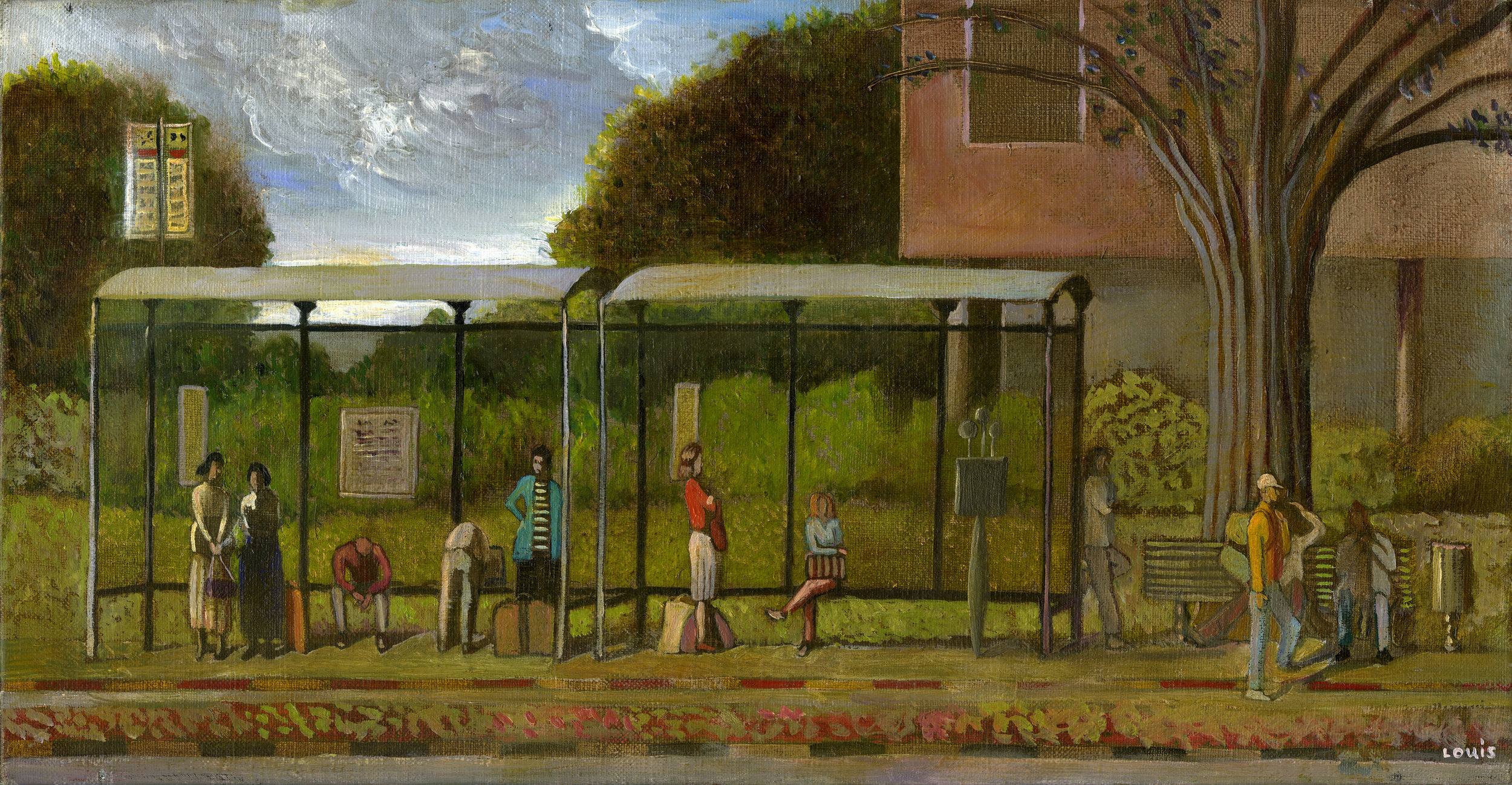Bus Stop  Oil on canvas. #A53