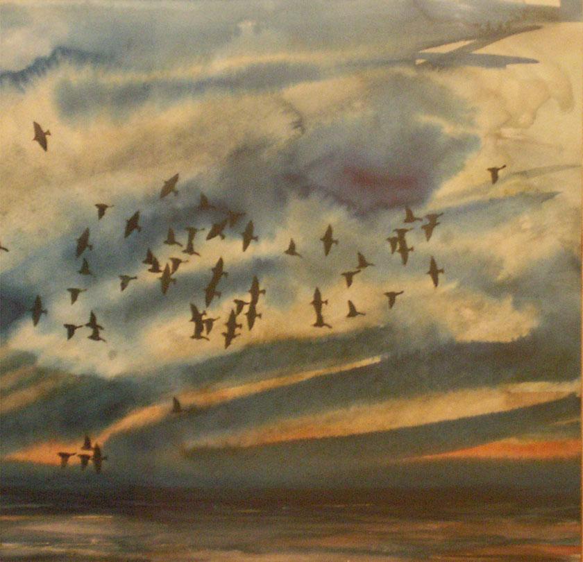 Sunset Flock  Oil on canvas. #A77
