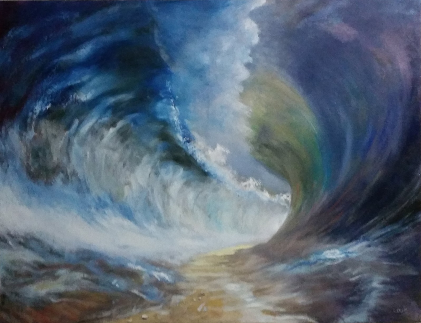 Blue Warring Seas  Oil on canvas. #A135