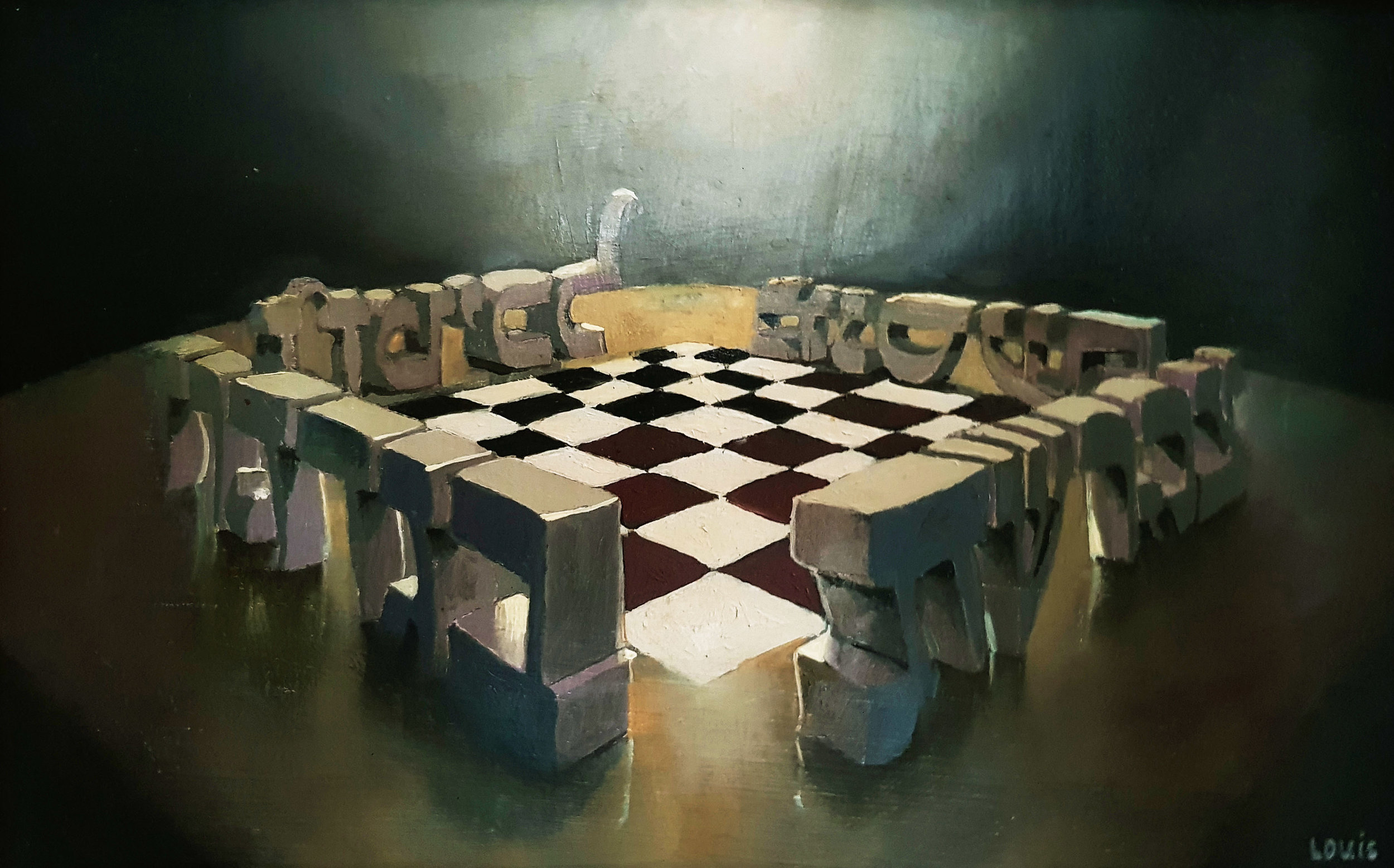 Chess With Letters  Oil on canvas. #A162