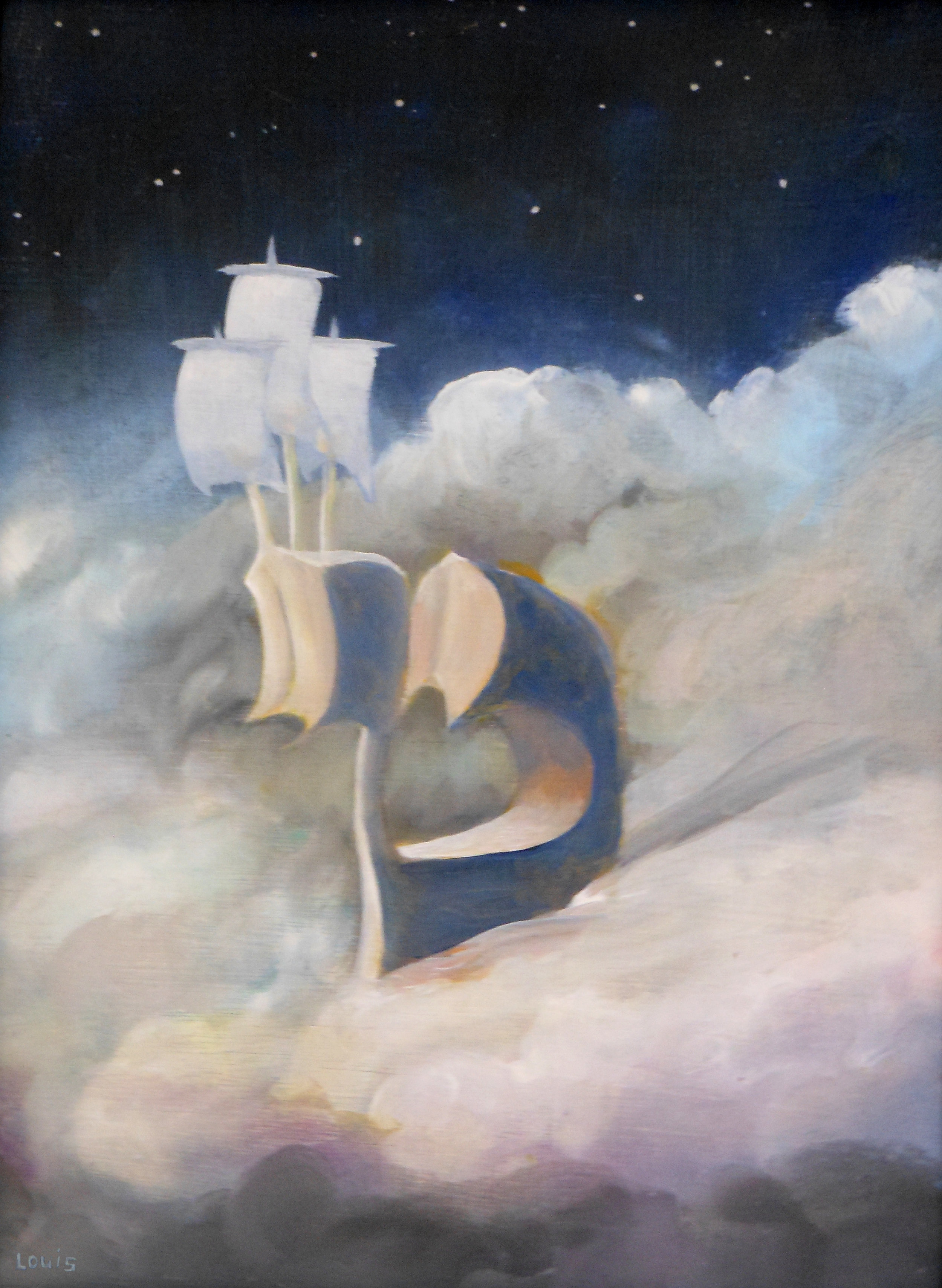 Night Ship  Oil on canvas. #A172