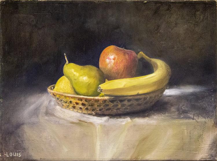 Fruit Bowl     40 x 30 cm, oil on Belgian linen. #A102 - 2016