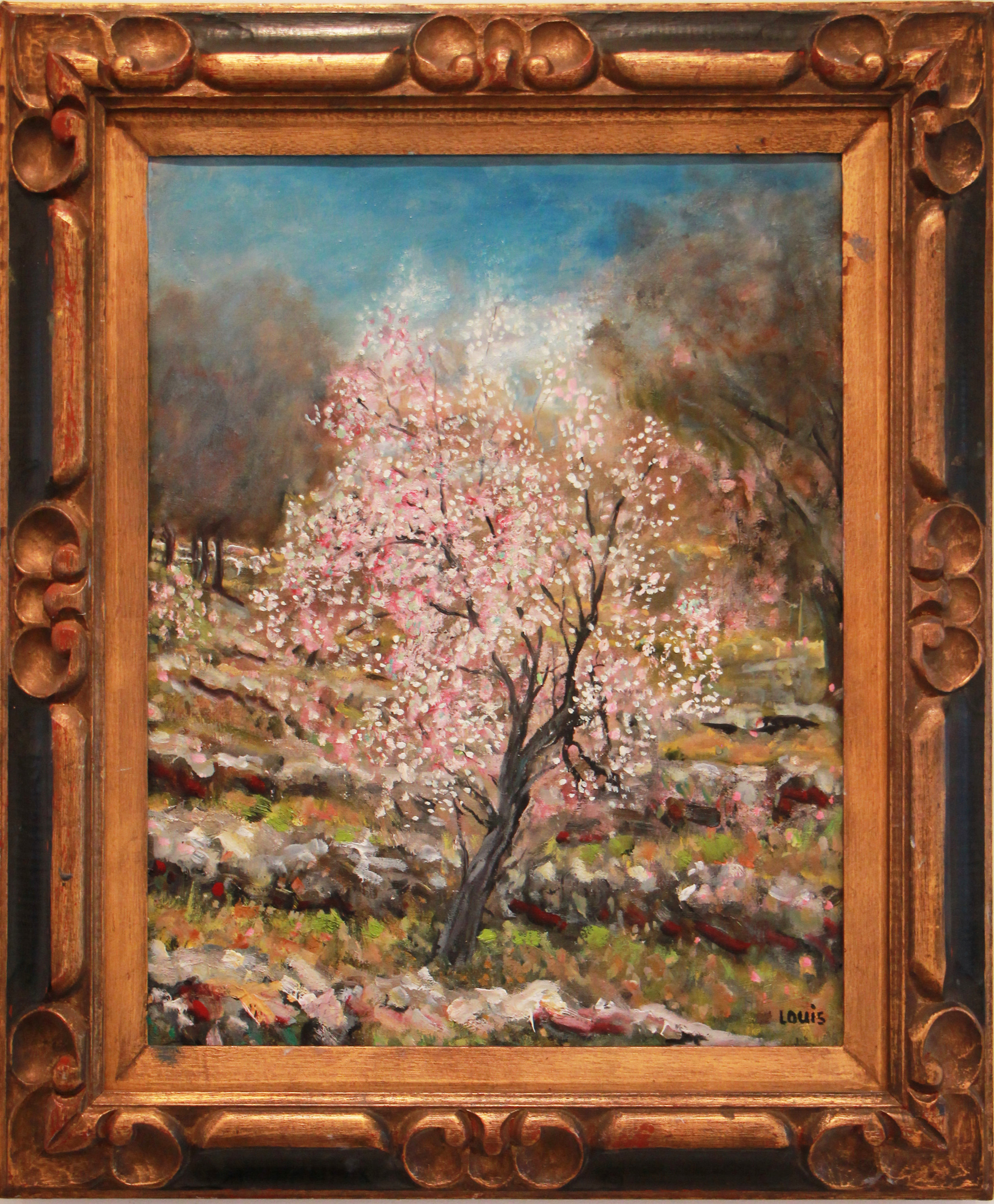 The Almond Tree  60 x 56 cm Oil on canvas, signed.