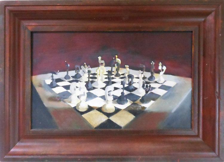 Chess  30 x 18 cm, oil on canvas. #A22 - 2008