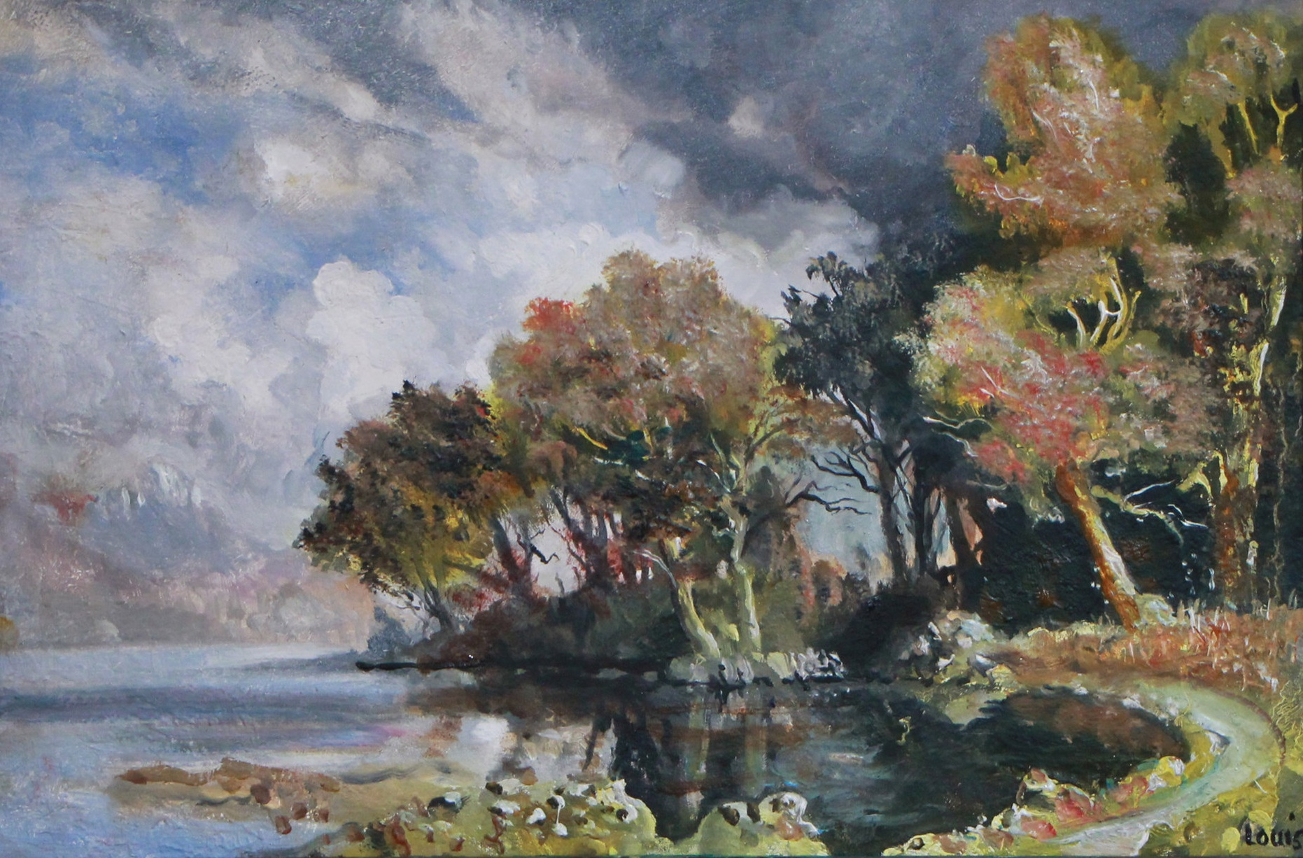 On The Lake Shore  57 x 42 cm, oil on canvas. #A8 - 2015