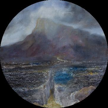Splitting The Sea     48 cm diameter, oil on canvas. #A10 - 2016