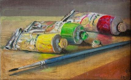 Paint Tubes   33 x 26 cm, oil on canvas. #A106