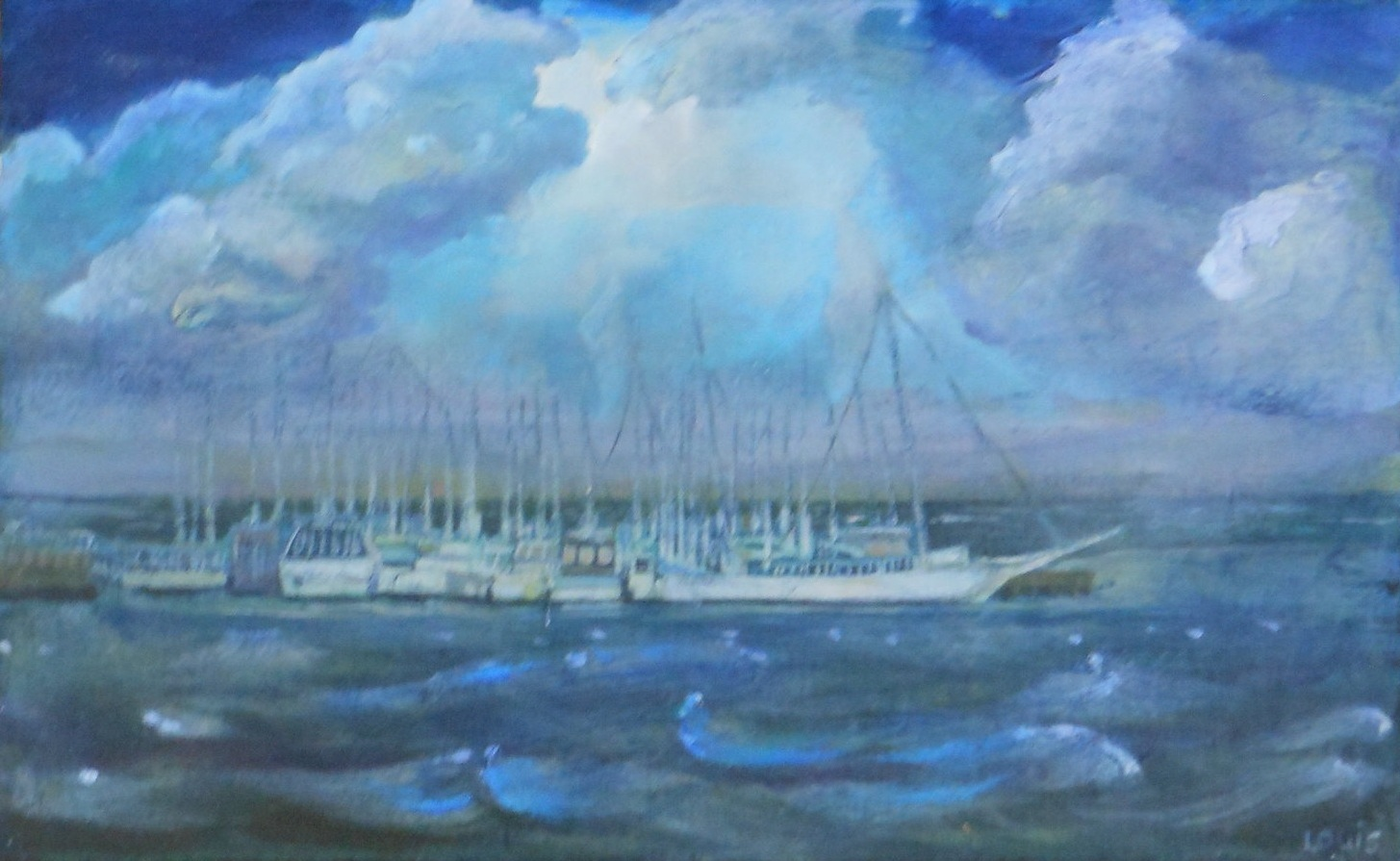 Sailing the Sea  Oil on canvas. #A36