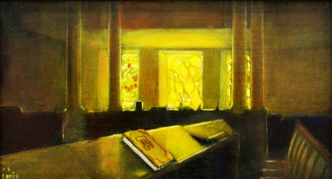 Synagogue Alight  Oil on canvas. #A32