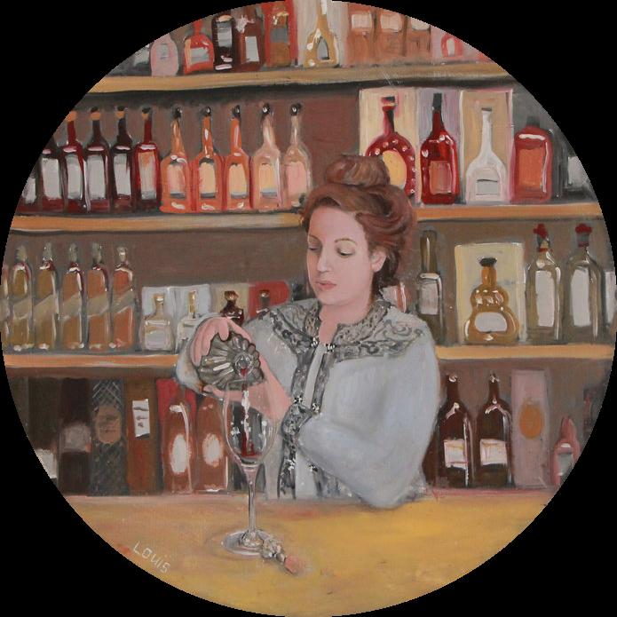 The Wine Seller  60 cm diameter, oil on canvas. #A21 - 2016