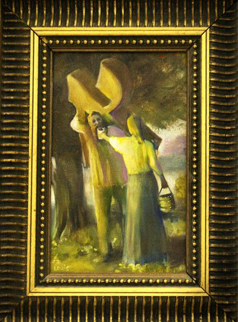 Aiding The Bearer  Oil on canvas. A#180