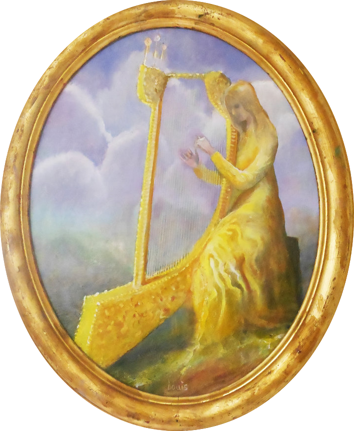 The Harpist  Oil on canvas. #A183