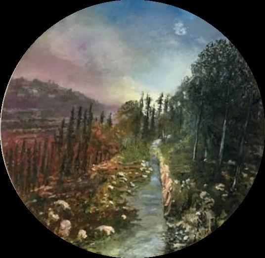 Galil Sunset  69 cm diameter, oil on canvas #A204