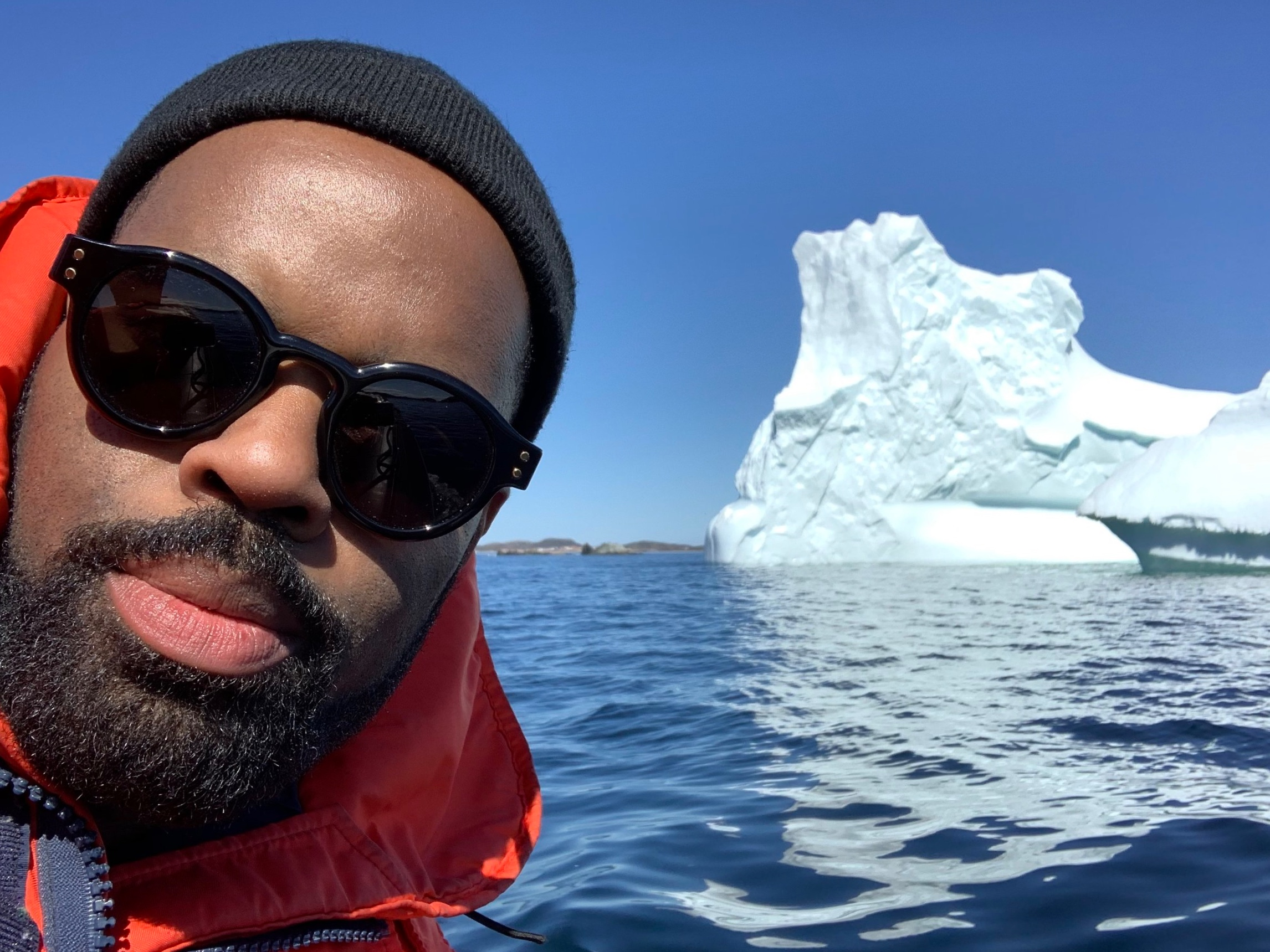 De'Lon Grant of the Broadway Come From Away cast hunting icebergs in Central Newfoundland.