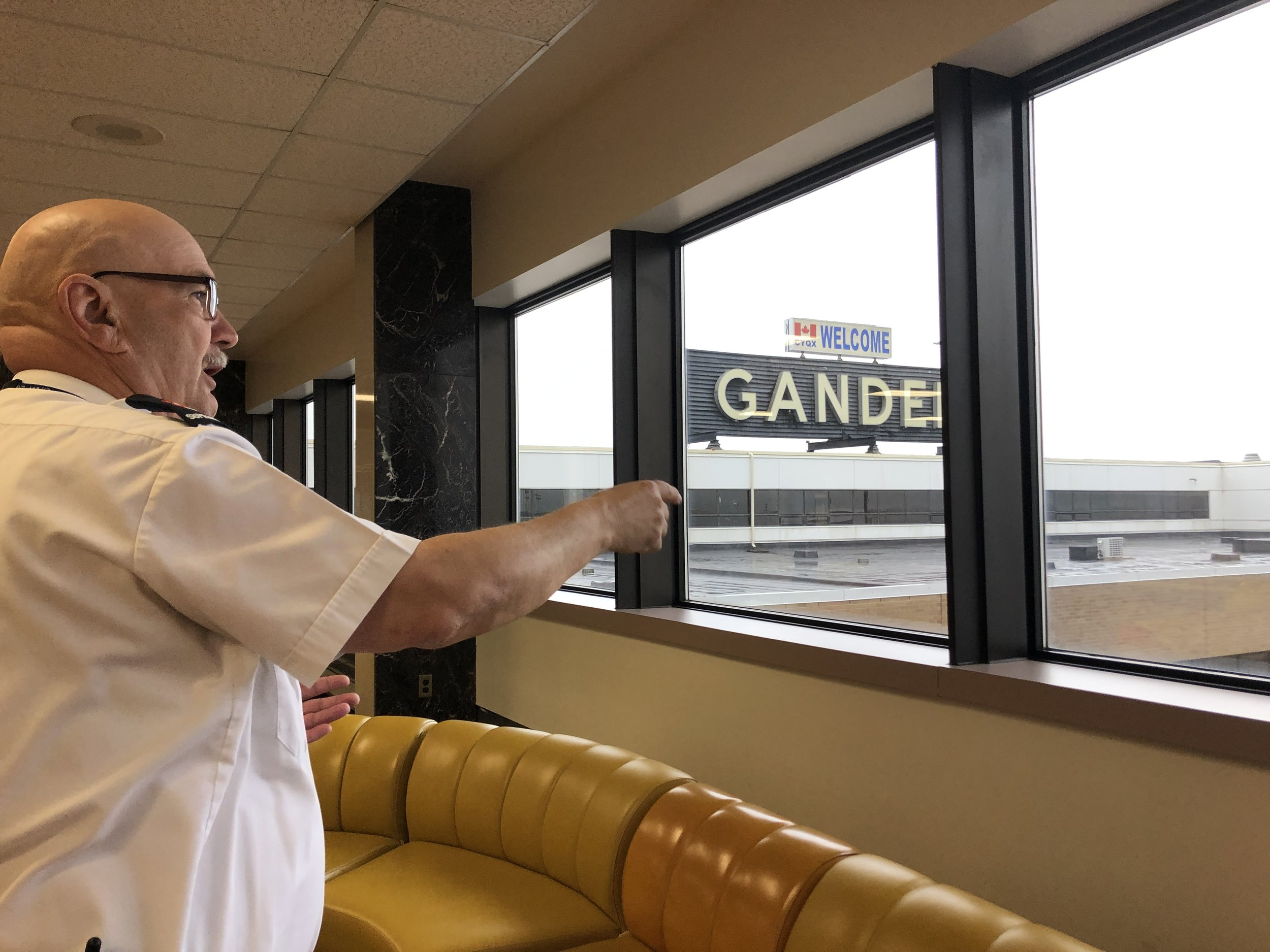 Gerry giving a tour at Gander International Airport