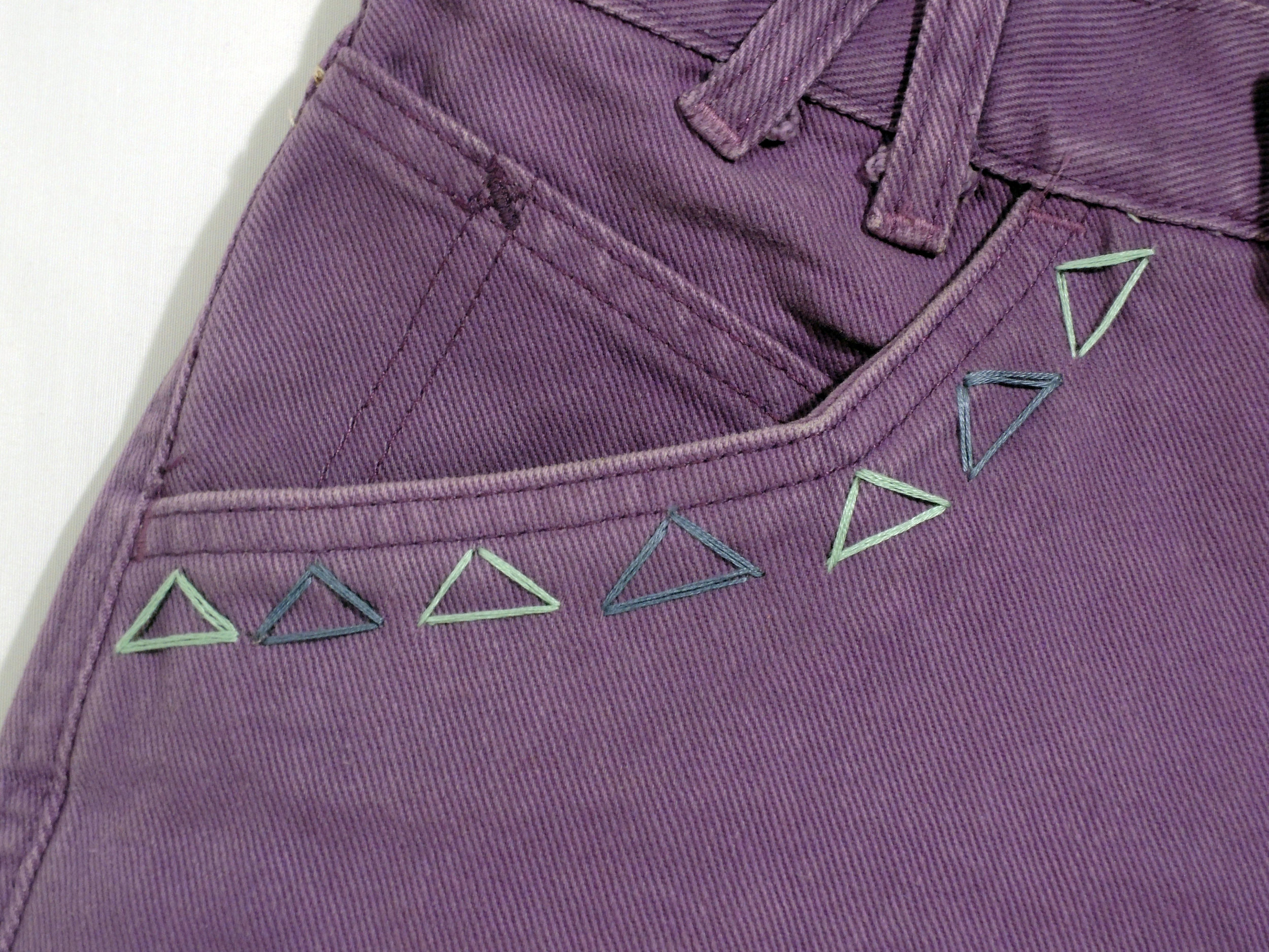 Embroidered Purple jean Shorts