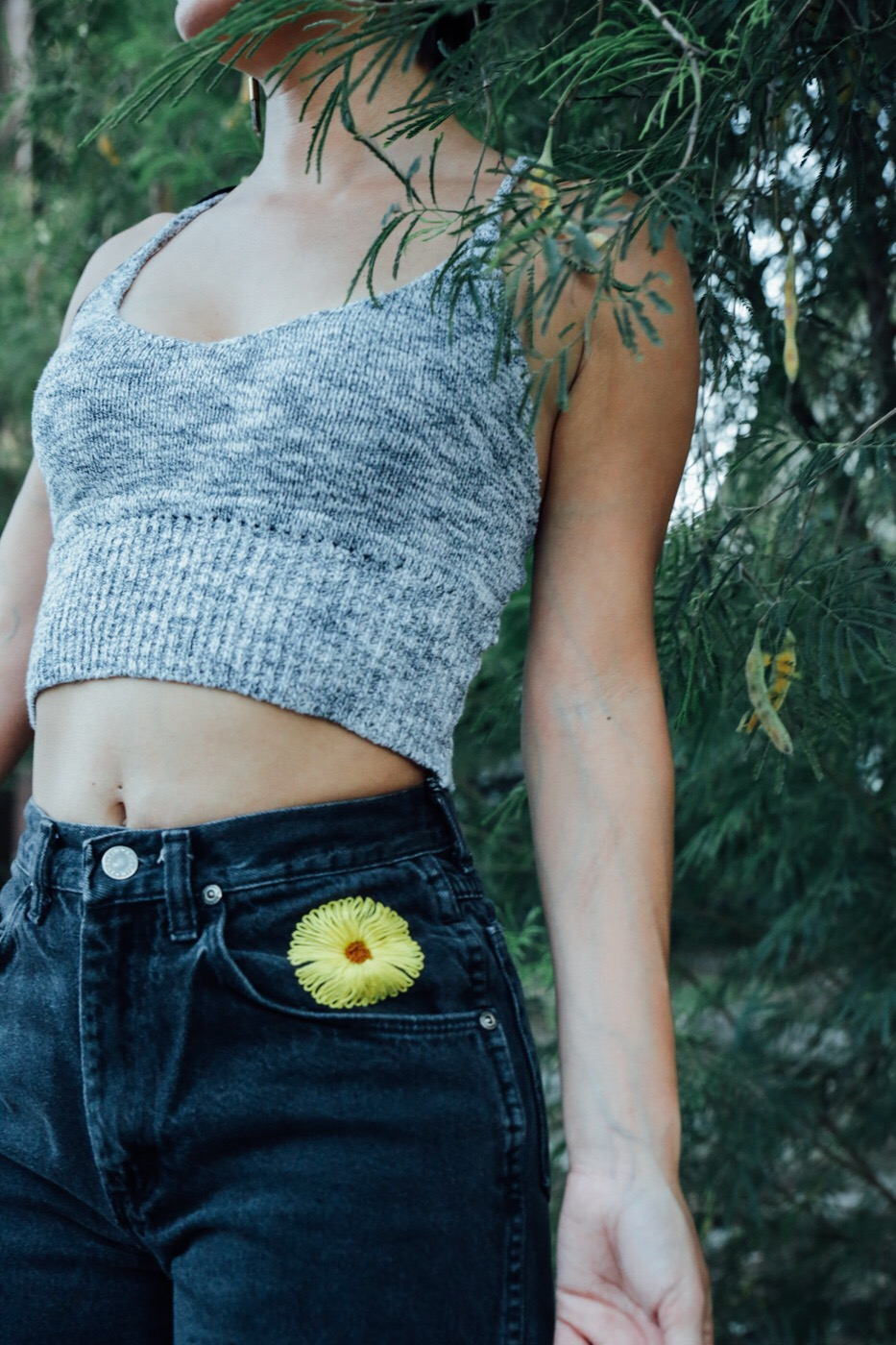sunflower embroidered shorts