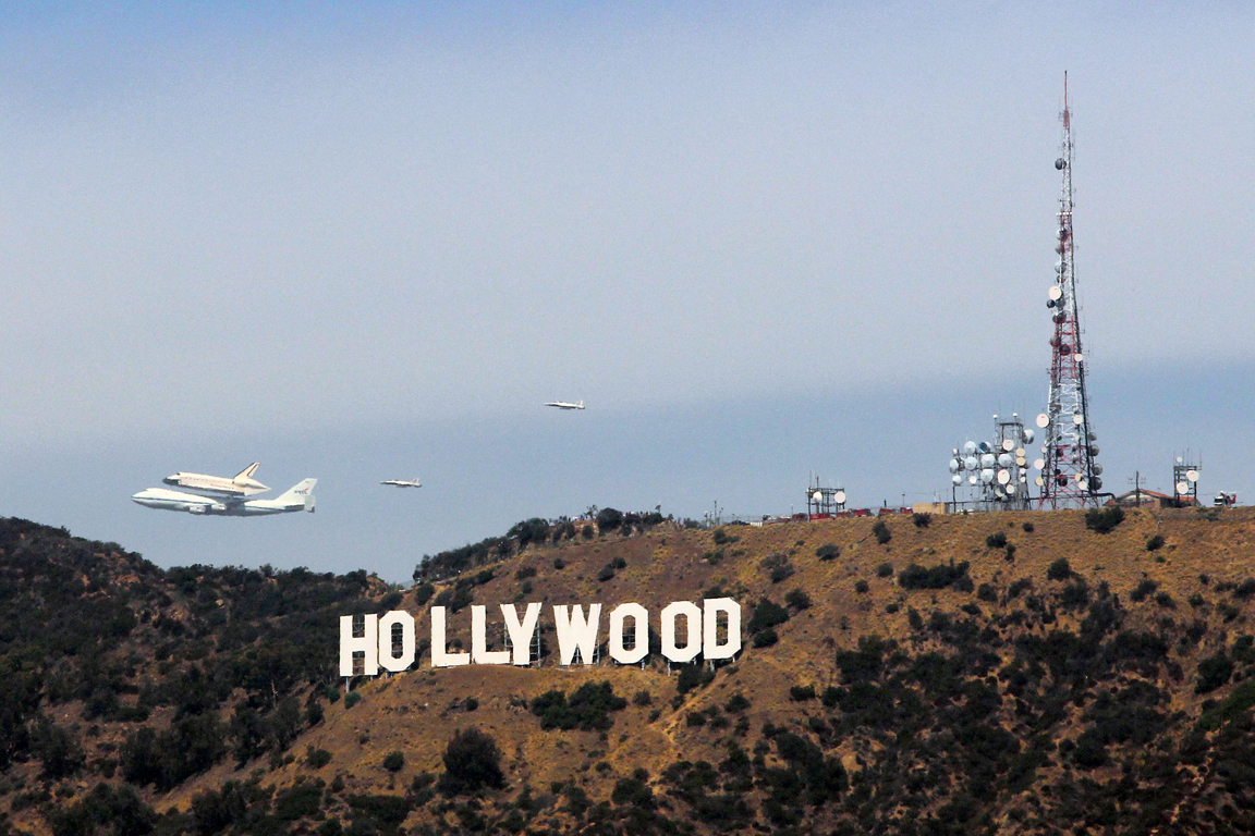 Final Flight - 2012 - (Hollywood, California) As one era of space travel comes to a close, Space Shuttle Endeavor cruises throughout Los Angeles on its final voyage.