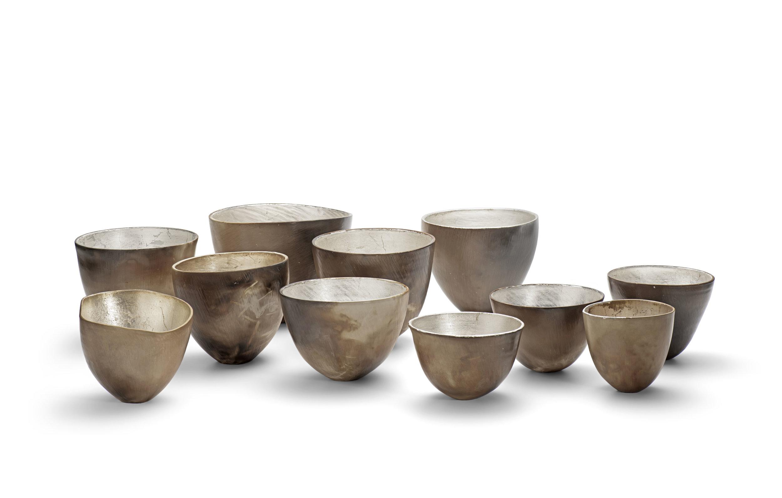silver ceramic bowls