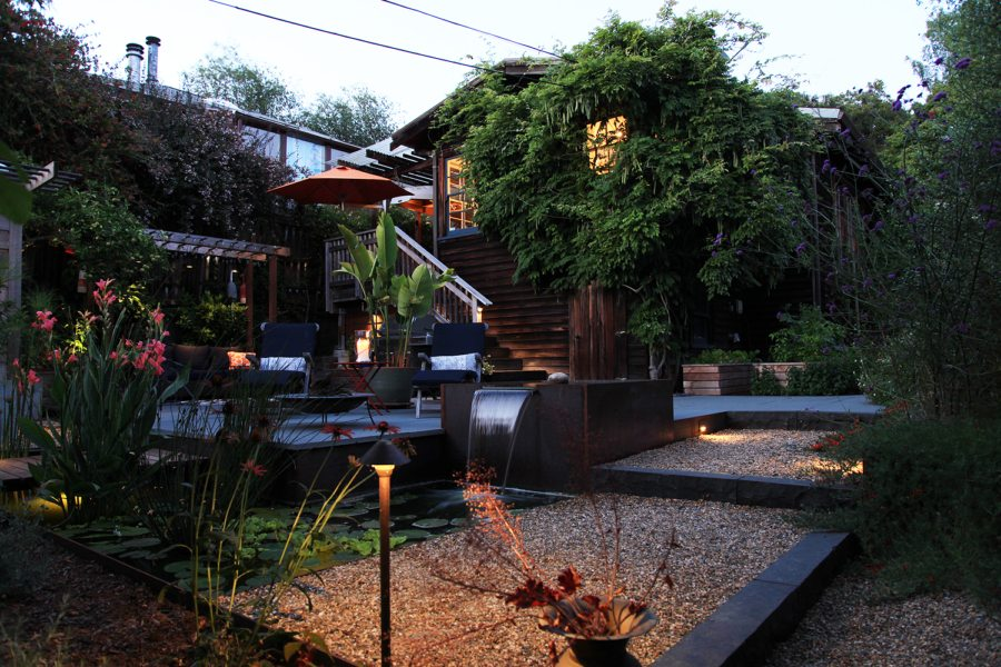 The garden mixes drought tolerant plants with permeable hardscape to maximize water conservation. Photo: Christian Humann