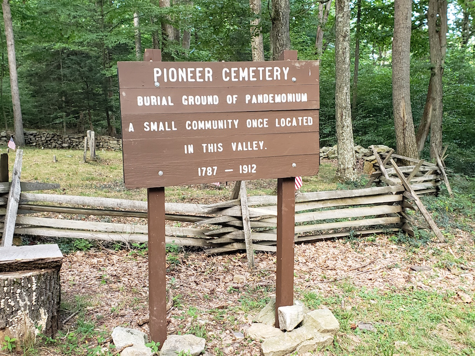 Pioneer Cemetery sign