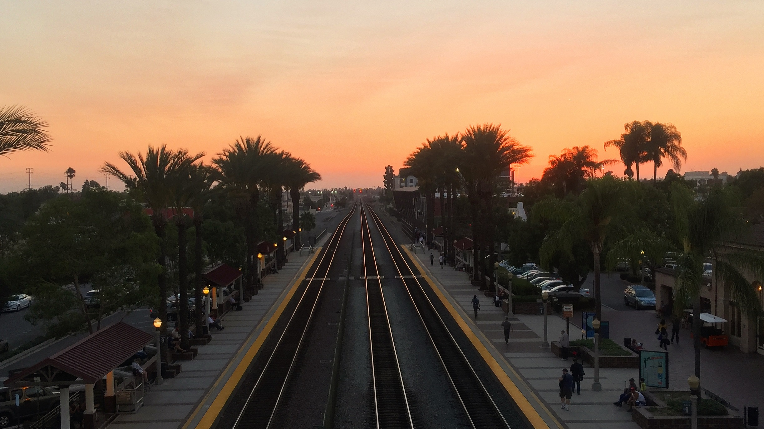Fullerton Station at Sunset, looking west. Photo by Sergio Magallon, 2016.