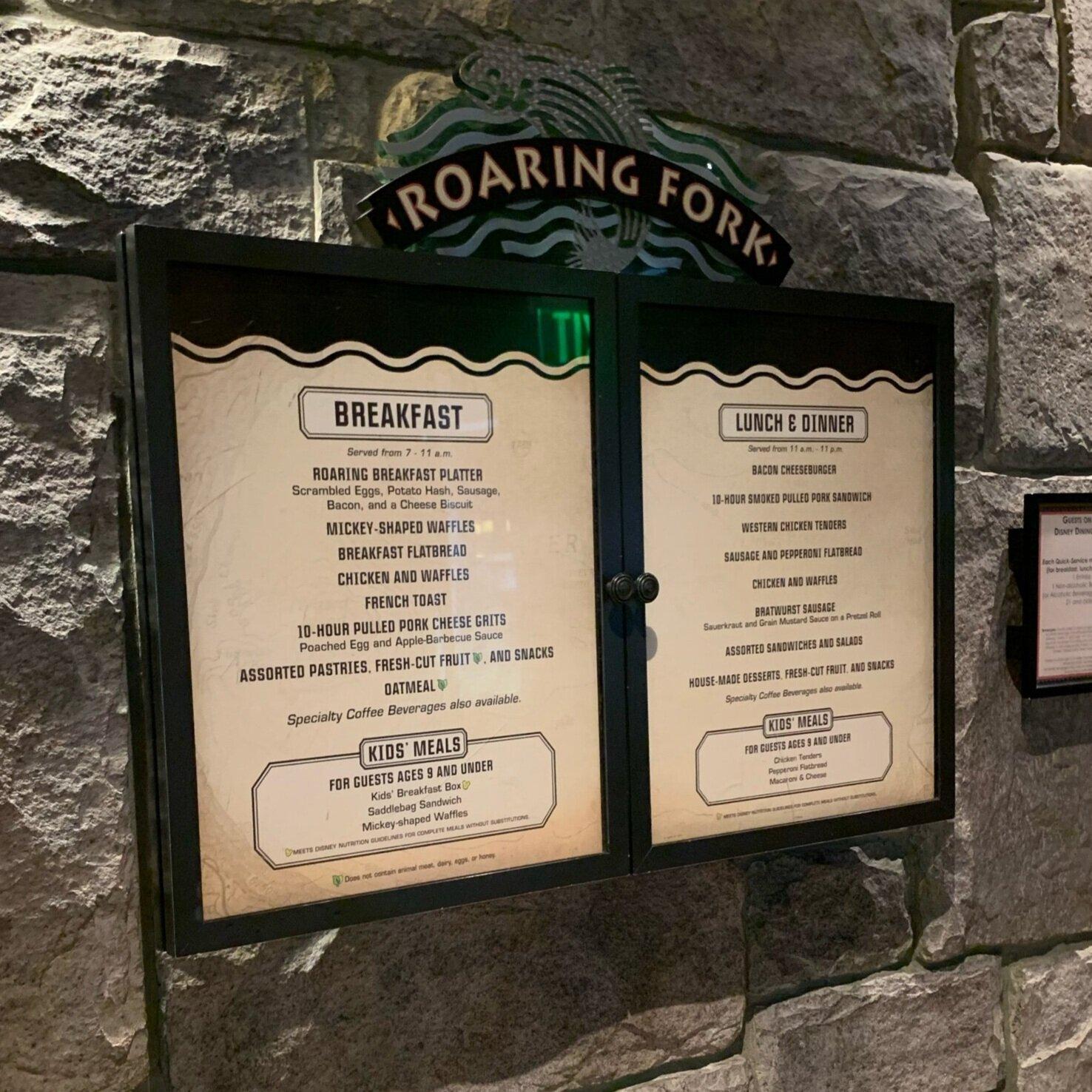 Menu at Roaring Fork at Disney's Wilderness Lodge