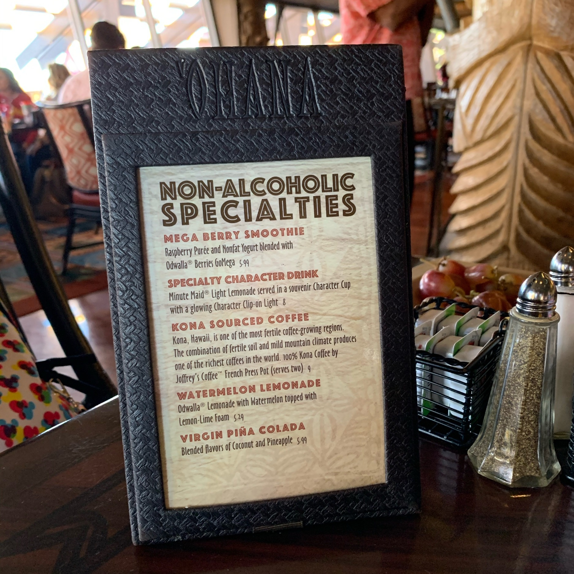 Non-Alcoholic Drink Menu (Dining Review: 'Ohana Best Friends Breakfast Featuring Lilo & Stitch)