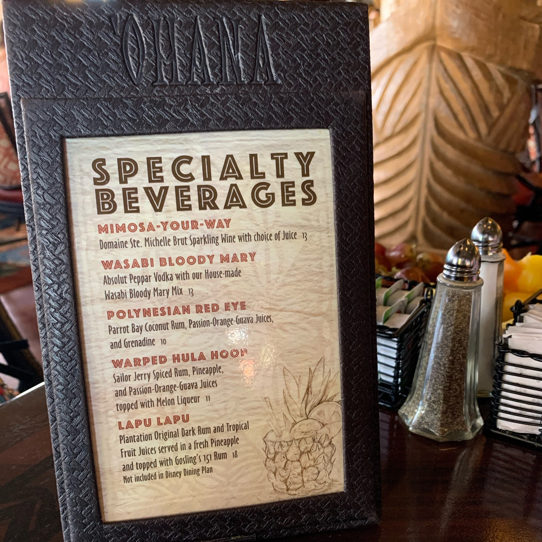 Specialty Beverages Menu (Dining Review: 'Ohana Best Friends Breakfast Featuring Lilo & Stitch)