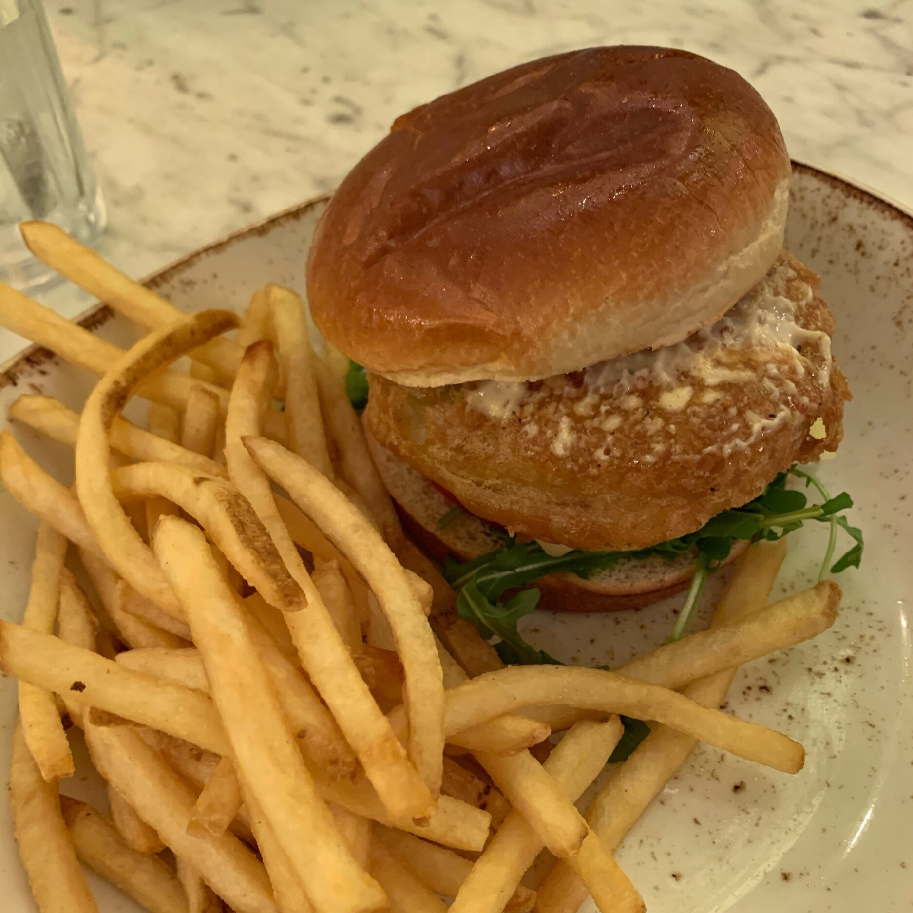 Fried Green Tomatoes Sandwich at The Plaza Restaurant