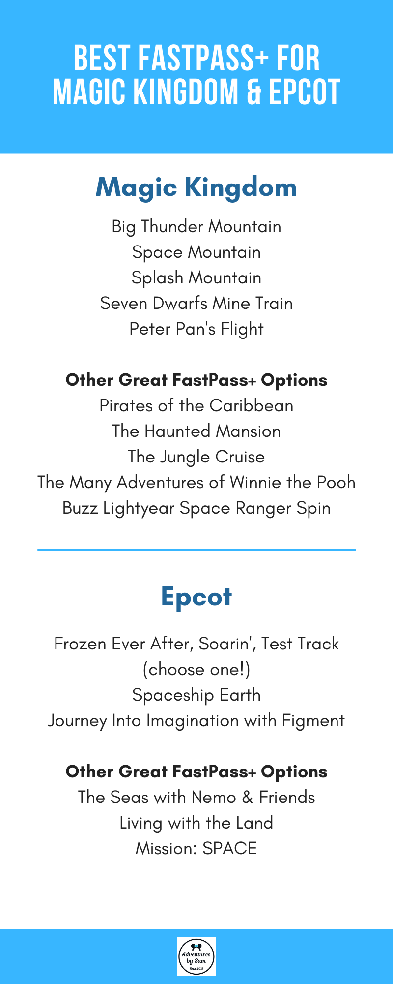 Best FastPass+ Reservations for Magic Kingdom & Epcot (Infographic)