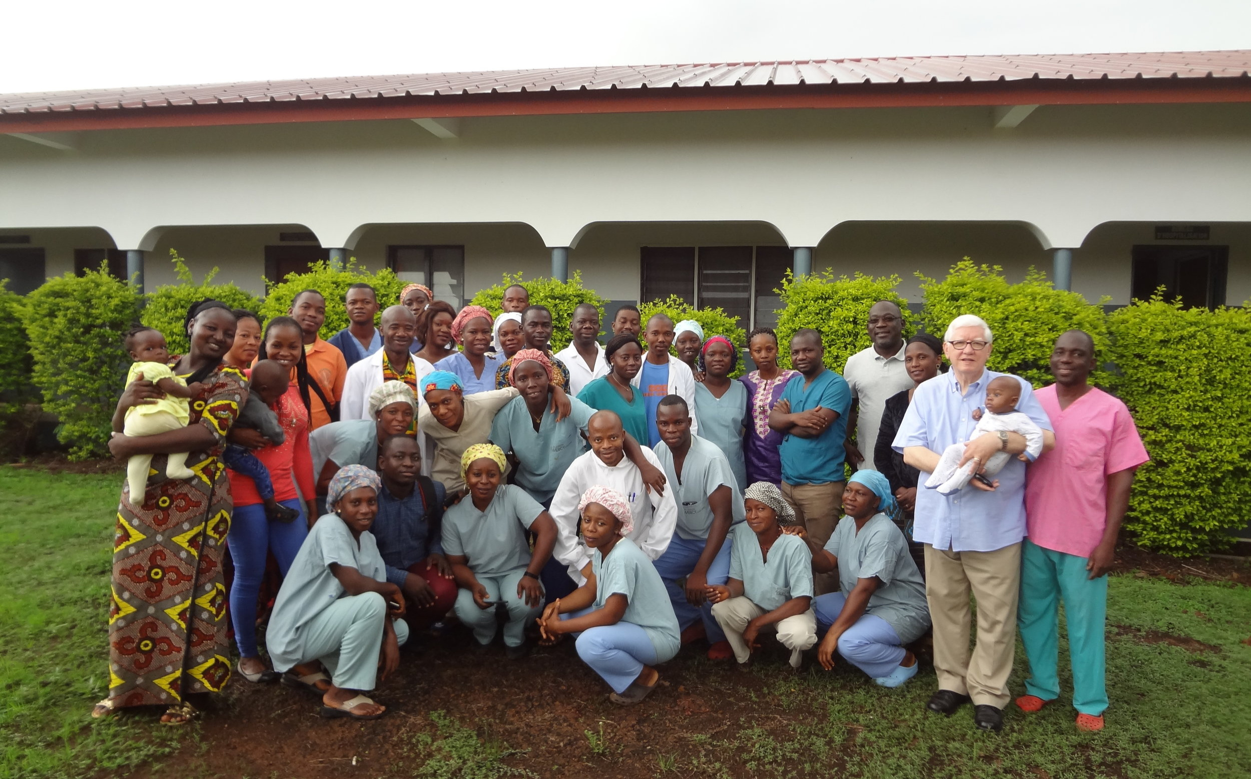 TR provided administrative and technical support to Compassion Hospital in Guinea, West Africa in June 2019; photo of TR with the hospital staff