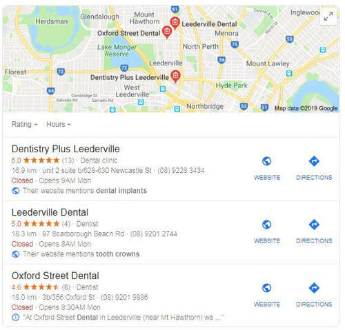 This is now: just three listings. Two of these businesses were optimised by me. One still is. Modesty aside, this is because I know what I'm doing.