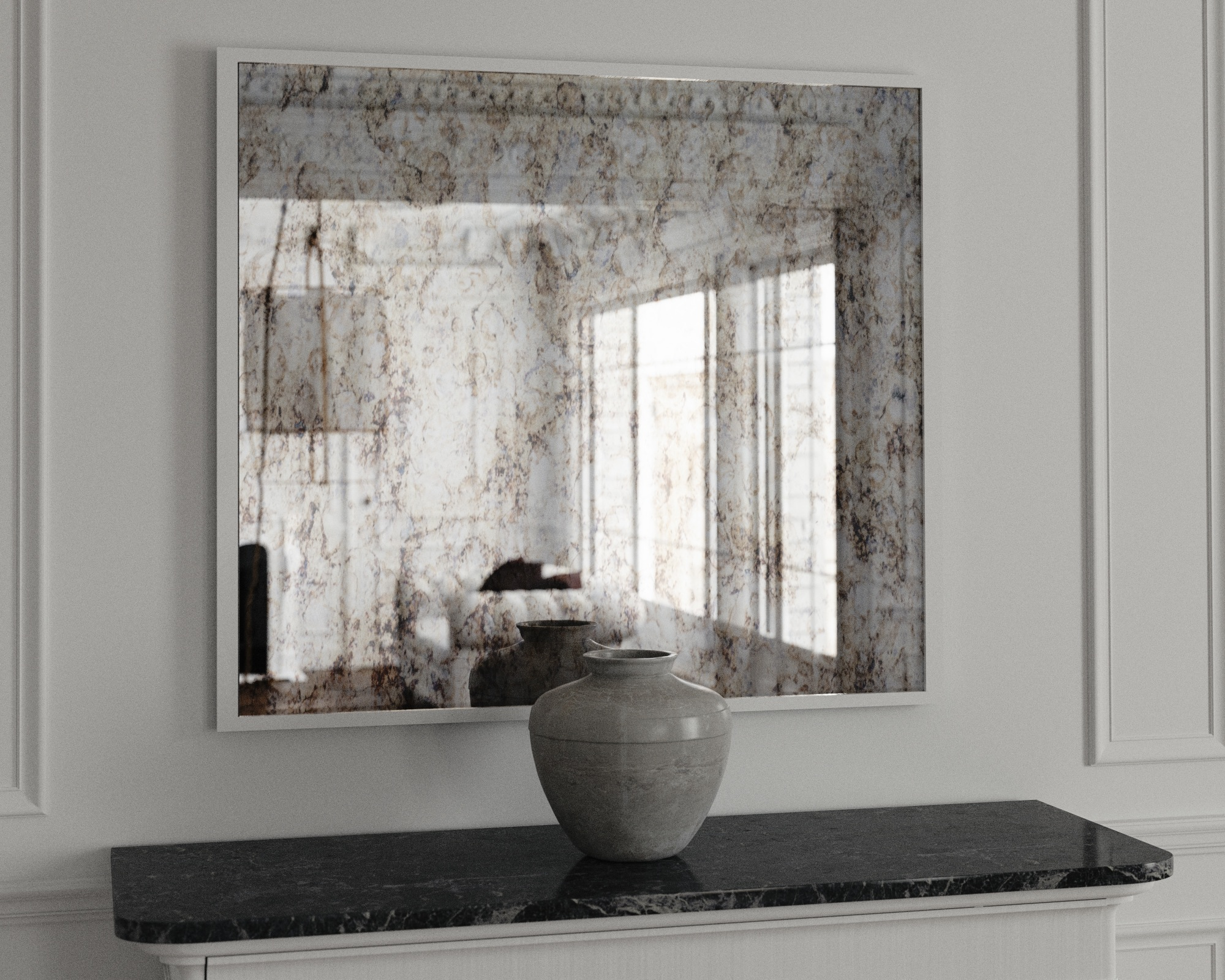 Custom Wall Mirror with Antiqued Mirror