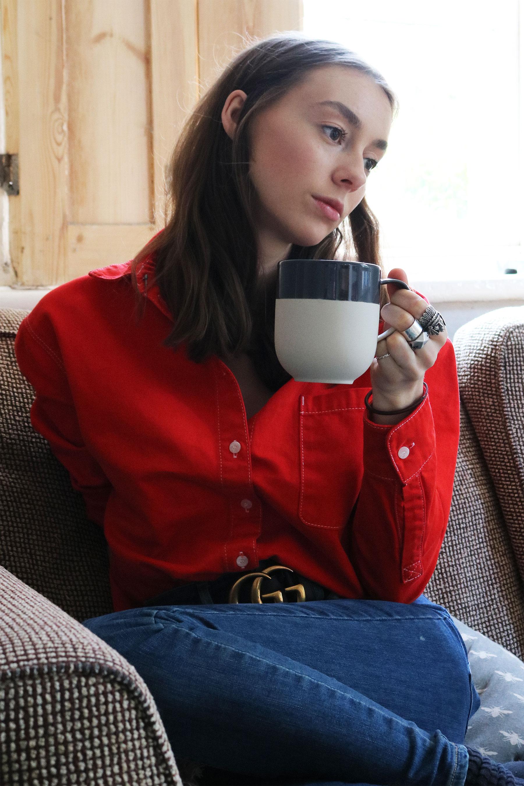 Grace Mandeville ootd, red shirt, double denim outfit, gucci belt, blogger,
