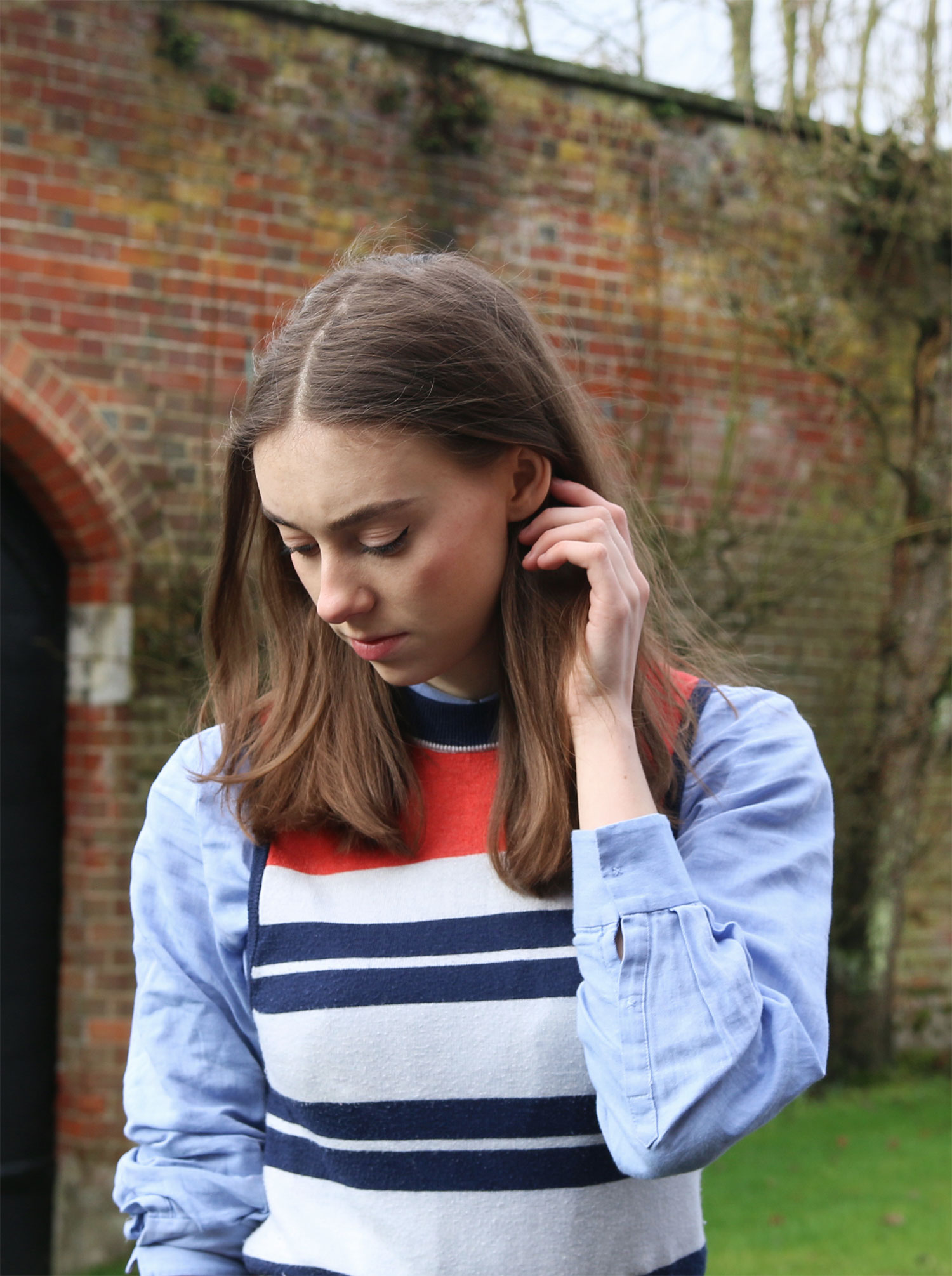 striped cooperative jumper, andotherstories blue shirt, short brown hair, grace mandeville blog, fashion british blog