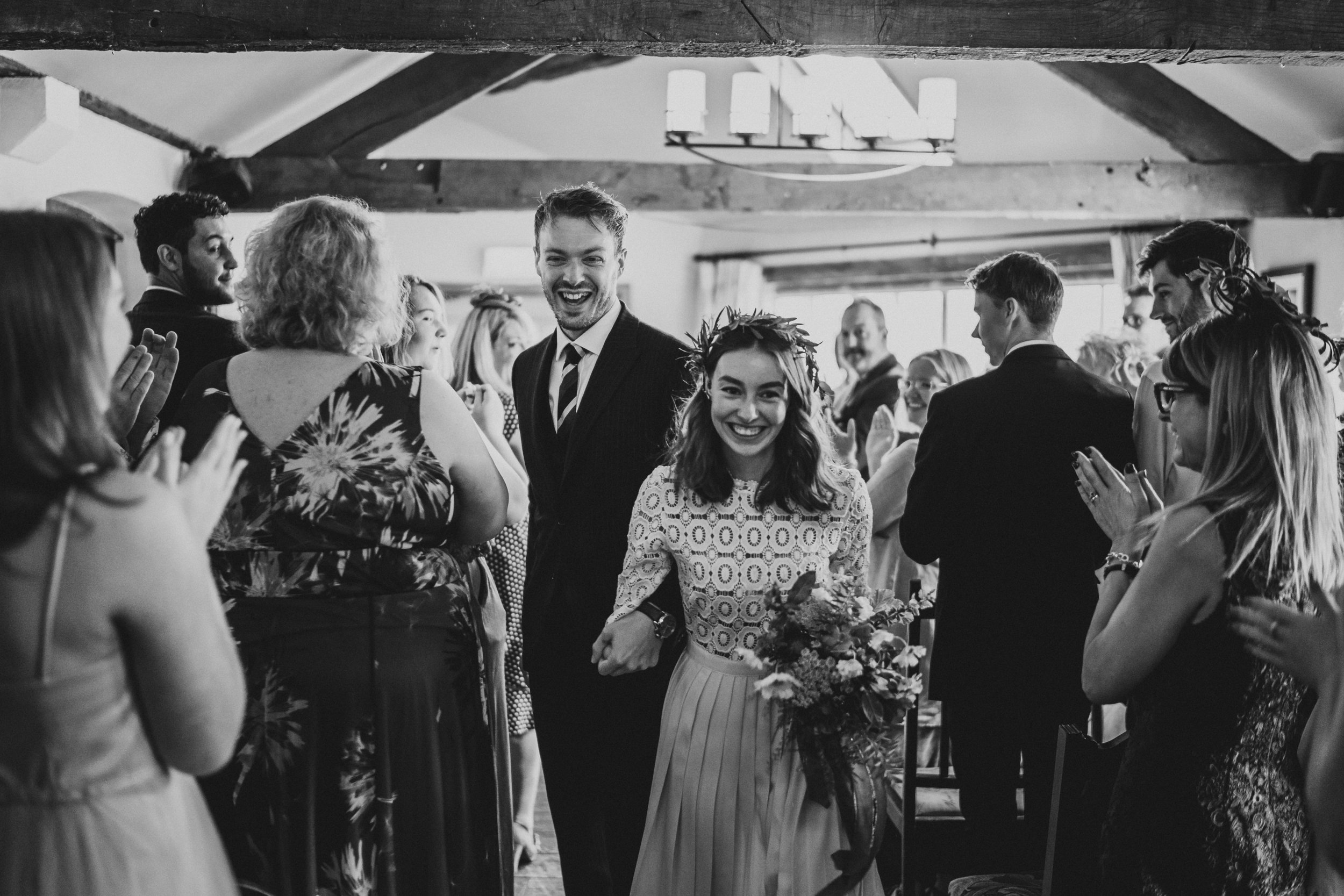 Bride Grace Mandeville and groom Ryan's ceremony at The Mill in Elstead, alternative wedding, photo kit myers