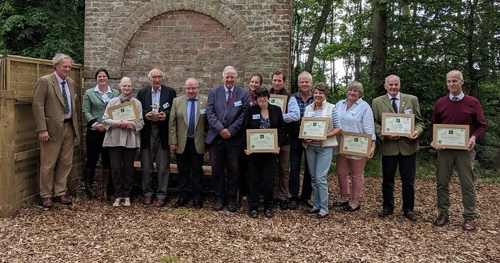 - Finalists, Judges and sponsors for 2019. From Left: Martin Hole, Judge, Aloysia Daros, Smith & Williamson, Rose and Robin Carver, Hole Farm, winning farm, Duncan Sinclair, Waitrose, Charles Beaumont, Head Judge, Katherine and David Butler, East Wick Farm, runners-up (behind), Glenda Thomas, FWAG Wales, representing Llyr Jones, finalist (in front), John and Sue Billington, Adbaston Hall, runners-up, Debbie Windebank, representing Edward Tupper, finalist, David Rose, finalist, James Turner, finalist